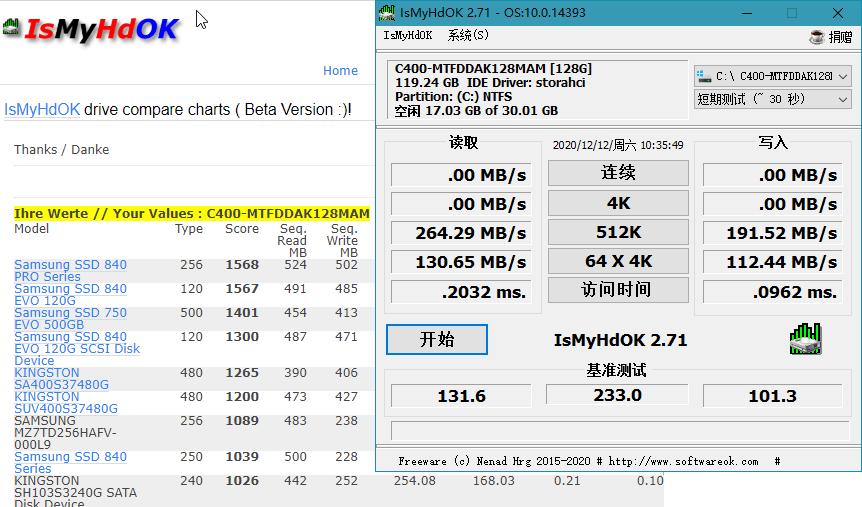 IsMyHdOK v3.13 硬盘速度测试工具 softwareok